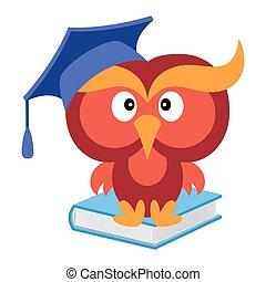 grande, divertido, sabio, búho, sentado, en, el, libro azul