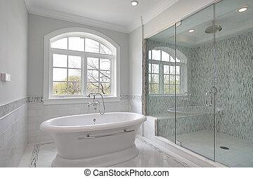 grande, doccia, maestro, bagno