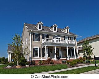 grande, dois andares, bronzeado, lar