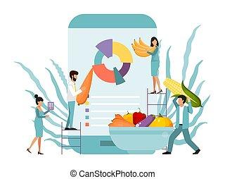 grande, domanda, conteggio, smartphone., conteggio, mobile, persone, diagramma, cibo, verdura, fresco, calorie, piccolo, caloria, telefono