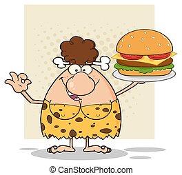 grande, donna, caverna, presa a terra, hamburger