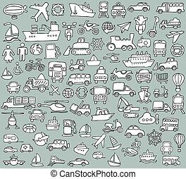 grande, doodled, transporte, iconos, colección, en, blanco y negro