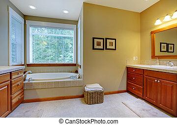 grande, doppio, bagno, lavandini, classico