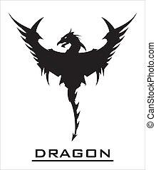 grande, dragón, negro