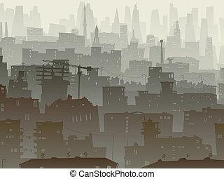 grande, dusk., cidade