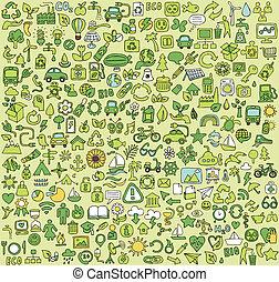 grande, ecologia, doodled, collezione, icone
