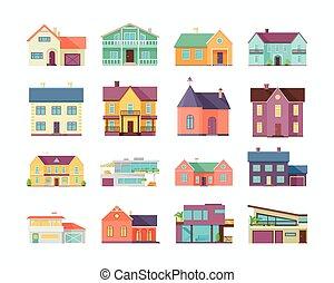 grande, edificios, conjunto, architectures, casas