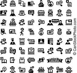 grande, educação, jogo, online, ícones