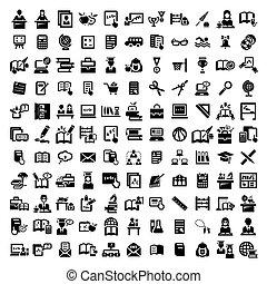 grande, educación, vector, iconos, conjunto