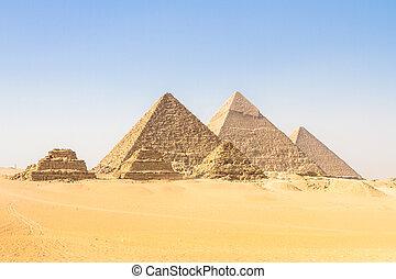 grande, egipto, el cairo, pirámides de giza, valle