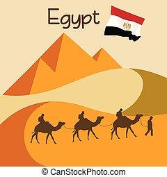 grande, egitto, roulotte, duna, sabbia, cammelli, piramidi