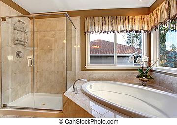 grande, elegante, maestro, bagno, con, piastrella, pavimenti, e, vetro, shower.
