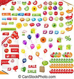 grande, elementos, venta, colección