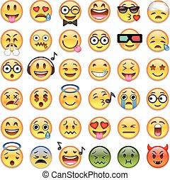 grande, emojis, emoticons, set, 36