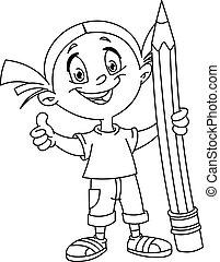 grande, esboçado, menina, segurando, lápis