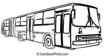 grande, esboço, bus.