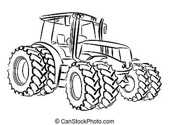 grande, esboço, tractor.