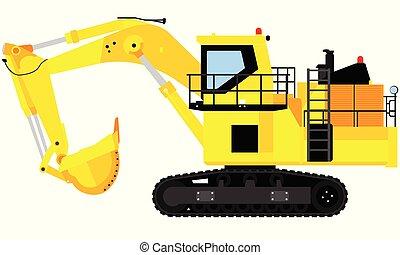 grande, escavador, ilustração