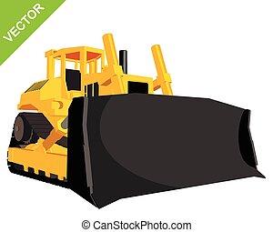 grande, escavadora, amarela