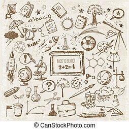 grande, escuela, conjunto, espalda, doodles