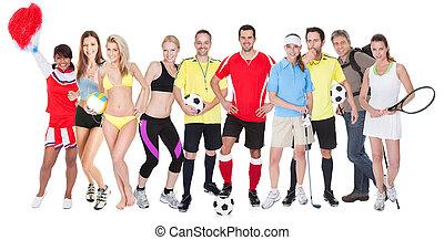 grande, esportes, grupo, pessoas