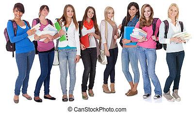 grande, estudantes, grupo, femininas