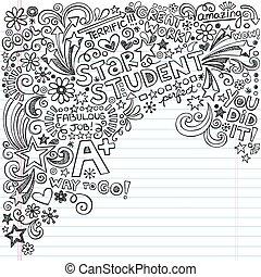 grande, estudiante, cuaderno, doodles