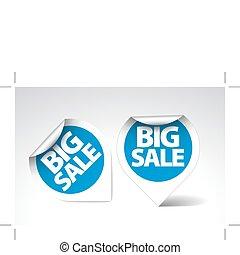 grande, etiquetas, venta, /, pegatinas, redondo