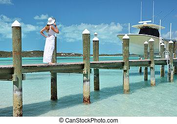 grande, exuma, embarcadero, mirar, de madera, baha, ocean., ...