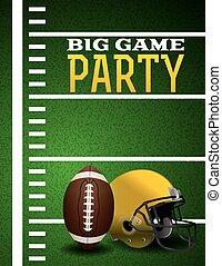 grande, fútbol, norteamericano, juego, invitación, fiesta
