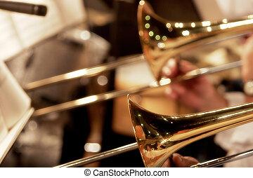 grande, faixa, trombones
