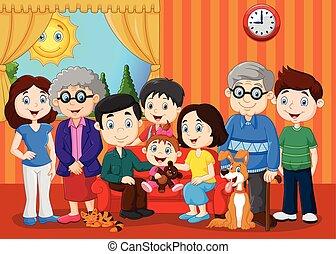 grande, família, avós