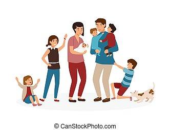 grande, famiglia, con, molti, children., accentato, e, stanco, genitori, o, esaurito, mamma papà, e, sconcio, bambini, isolato, bianco, fondo., problema, di, stanchevole, e, stressante, parenting., cartone animato, vettore, illustration.