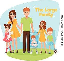 grande, famiglia, illustrazione