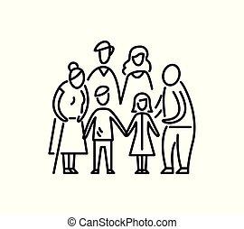 grande, familia , niños, padres, y, abuelos, relación,...