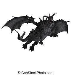 grande, fantasía, dragón