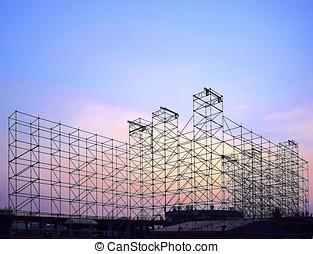 grande, fase, construção, para, concert ao ar livre