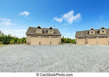 grande, fazenda, casa rural, com, cascalho, entrada carro,...