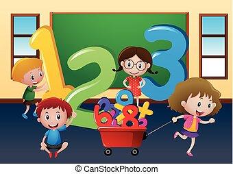 grande, felice, bambini, numeri classe