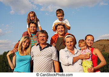 grande, felicità, famiglia