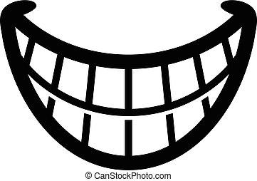 grande, feliz, caricatura, sonrisa dentuda