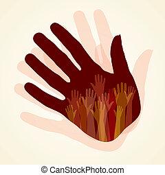 grande, feliz, grupo, mãos