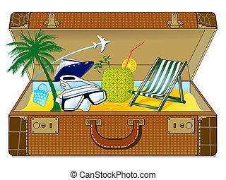 grande, feriado, maleta