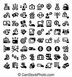 grande, finanças, ícones, jogo