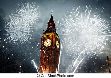 grande, fireworks, ben, mostra, intorno