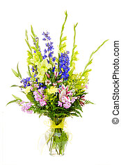 grande fleur, coloré, isolé, rose, arrangement, lilly,...