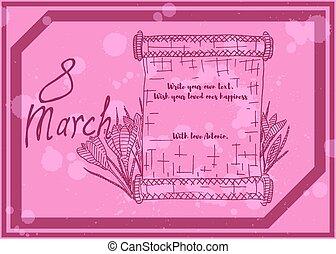 grande, flores, saudação, borgonha, esboço, cartão