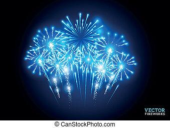 grande, fogos artifício exibem