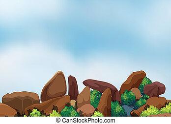 grande, formação, rocha