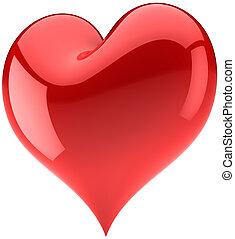 grande, forma, coração vermelho